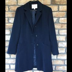 48HR FINAL SALE  Navy Fleet Street Dress Coat Color is more of a Navy then pic shows. It is very pretty and will go with anything and everything. It is fully lined. Has pockets, button closure and it is in Great Pre-loved Condition, just needs cleaned, has been hanging in closet for quite a while. Exterior is 100% Polyester / Interior 100% Nylon Fleet Street Jackets & Coats