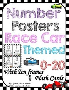 KidsLearningBasket: Race Car Themed Number Posters with Ten Frame. Number Posters, Number Words, Page Number, Ten Frames, School Resources, Home Schooling, Classroom Decor, Kids Learning, Race Cars