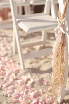 Beach Wedding Starfish Chair Decorations - could add more colorful ribbon Wedding Chair Decorations, Wedding Chairs, Wedding Themes, Wedding Designs, Decor Wedding, Beach Wedding Makeup, Beach Wedding Colors, Seaside Wedding, Beach Weddings