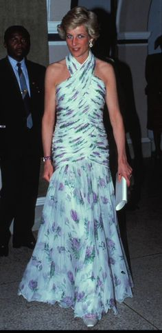 Princess Diana in Catherine Walker gown in 1990.