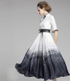 Summer cheongsam collar national trend slim half sleeve one-piece dress $273 #Dress #Long #White_Black