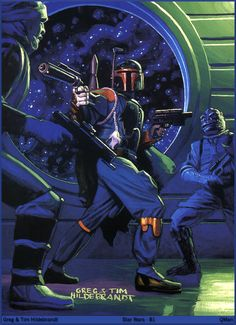 Greg & Tim Hildebrandt Star Wars - 81 .. boba fett vs. bosk and dengar (fett always wins)