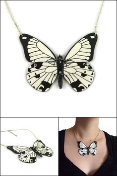 White and black Papilio Dardanus butterfly necklace, wedding handmade butterfly necklace, plastic fancy butterfly necklace - Made on order with recycled CD by @savousepate on Etsy