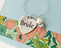 Wedding Wine Charm, Personalized Wine Charm, Wine Charm, Bridal Party Wine Charm, Wedding Shower, Bridesmaid Wine Charm, Bride Wine Charm
