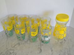Vintage 16ounce Re-purposed Jelly Glass Tumblers (8) and Shaker  by pearlsvintage
