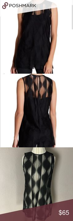 """DKNY Mesh Black Sleeveless Blouse Size Medium NWTs DKNY Mesh Black Sleeveless Blouse Size Medium   -crew neck  -Sleeveless  -back button-and-loop closure  -sheer patterned mesh construction   *all measurements are taken while item is laying flat and are all approximate * Bust: 34"""" Length: 28.5"""" Dkny Tops"""