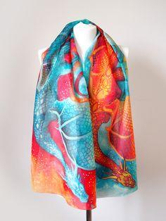 Dancing Dragons silk scarf #hand #painted by Luiza #Malinowska #minkulul #buy #handmade #hand #painted #silk #scarf with #dragons