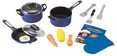 Learning Resources Pretend & Play Pro Chef Set: Encourage kids to play chef and build fine motor skills with this large set of kitchen toys that are designed to look like the real thing. 13 pieces include a large deluxe stock pot, saucepan, and skillet. Pretend Kitchen, Play Kitchen Sets, Play Kitchens, Learning Resources, Fun Learning, Play Kitchen Accessories, Cooking Spoon, Cooking Time, Play Food