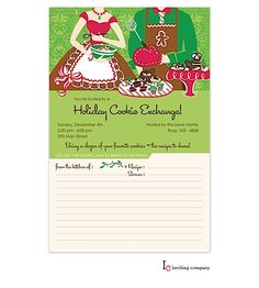 Holiday Cookie Exchange Invitations with Recipe Cards from RockPaperScissors