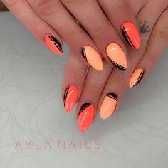 Orange Nail Designs, Square Nail Designs, Diy Nail Designs, Manicure Gel, Bright Nails, Oval Nails, Chrome Nails, Orange Nails, Stylish Nails