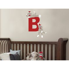 Sock Monkey Repositionable Fabric Wall Decal - Your Choice Of Fabric ...