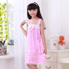 e7b9307cf2 Camisole princess nightdress Summer Girl Kids Pajamas Soft Breathable Baby  Sleepwear Dress for Children Nightgowns for