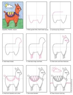 How to Draw an Alpaca. Free PDF tutorial available. #Alpaca #howtodraw #directdraw