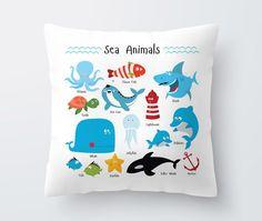 Coussin de décoration pour enfants avec des animaux de la mer, décor de salle, décor de nurserie, cadeau bébé, baleine, tortue, dauphins, requin, pieuvre, poisson Clown pour enfants