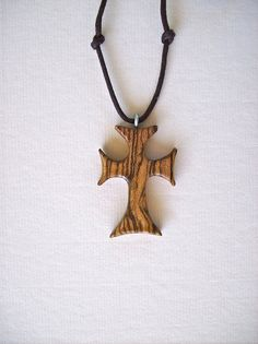 Carved Wood Jewelry Wood Cross Pendant Religious by GatewayAlpha, $19.95