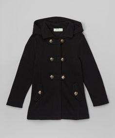 Loving this G&J Relations Black Button-Tab Hooded Coat - Toddler & Girls