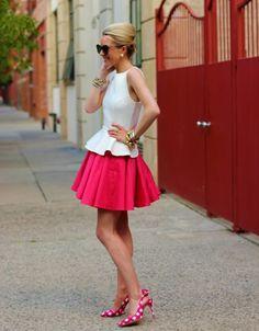 peplum blouse with full skirt