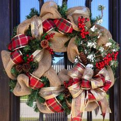 a burlap wreath with plaid and gold ribbon, pinecones, berries and evergreens fo. : a burlap wreath with plaid and gold ribbon, pinecones, berries and evergreens for a Christmas door Burlap Christmas Decorations, Burlap Christmas Tree, Christmas Swags, Xmas Wreaths, Prim Christmas, Etsy Christmas, Holiday Decor, Christmas Reef, Diy Weihnachten