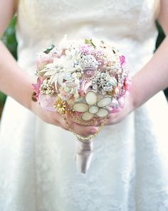 Vintage Pink Brooch Bouquet by J Arends Designs See more here: https://www.etsy.com/ca/listing/184762862/brooch-bouquet-pink-brooch-bouquet?ref=shop_home_active_3
