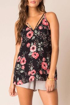 Must have floral print tank for spring! The tank is lined. double straps in front and back.   Ari Tank by Black Swan. Clothing - Tops - Tees & Tanks Minnesota