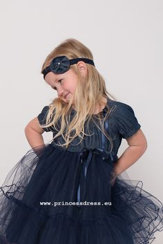 Girls Jeans Dress POLLY.Birthday Girls Dress. Limited Collection, Princess Style, Birthday Dresses, Girls Jeans, Jeans Dress, Body Types, Dress Collection, Simple Designs, Tulle