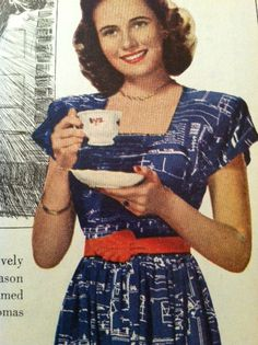 """Movie Star Teresa Wright Drinks Cup of Tea """"Best Years of our Lives"""" via Etsy. People Drinking Coffee, Teresa Wright, Vintage Housewife, Tea Quotes, Lipton, Tea Cozy, Coffee Drinks, Movie Stars, Vintage Fashion"""
