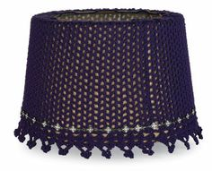 Purple and Rhinestone Pendant Crochet Lampshade, large