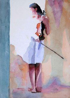Thomas Müller, Frau mit Geige, 2013, Aquarell auf Papier, 24 x 17 cm, (c) Thomas Müller, Lichterfüllt oder Das musikalische Pastell.