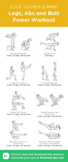Legs, Abs and Butt Power Workout – illustrated exercise plan created at WorkoutLabs.com/Fit • Click for a printable PDF and to build your own #customworkout