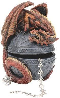 Dragon Protector of the Celtic Orb Sculptural Box    Wrapping his spiny tail in a protective crouch, our dragon is fraught with menacing sculptural detail. His imaginative, Celtic-knot embellished orb opens to cradle your treasures of the realm.  38.95