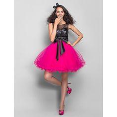 princesa una línea primicia corto de mini de tul / vestido de cóctel y / baile de lentejuelas con fruncido (759817) - CLP $ 48.084