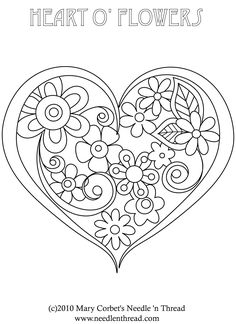 hearts flower embroidery or redwork