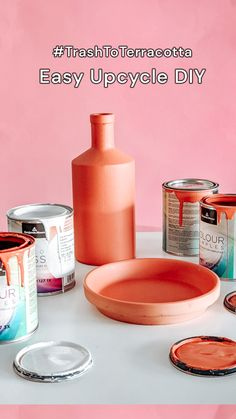 #TrashToTerracotta Easy Upcycled DIY Using paint samples, dollar store supplies, and some baking powder, you can create a ceramic effect on *most* surfaces. Store Supply, Paint Samples, Dollar Stores, Upcycle, Wonderland, Powder, Ceramics, Baking, Create