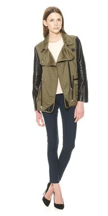 Cara Leather Sleeve Canvas Jacket, Whistles - leather sleeves in Spring!