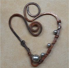 Wire Wrapped Heart Shaped Pendant Component Copper by SunStones