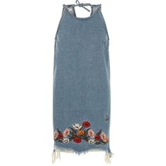 River Island Blue floral embroidered raw cut denim dress ($56) ❤ liked on Polyvore featuring dresses, sleeveless dress, denim dress, blue denim dress, no sleeve dress and sleeveless denim dress