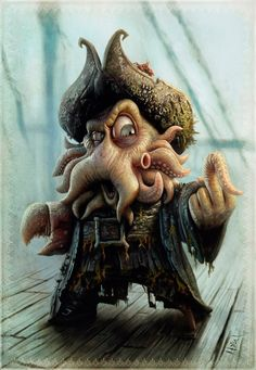 A cartoon version of the character Davy Jones from the movie Pirates of the Caribbean~