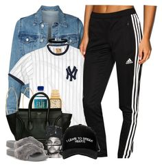 """""""Chillin' in Confliction"""" by nasiaswaggedout ❤ liked on Polyvore featuring Red Jacket, adidas, Lana, American Apparel, CÉLINE, Miss Selfridge and Manolo Blahnik"""