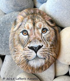 Hand Painted Rock Lion Portrait Is Painted with by RockArtAttack