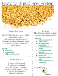 Just added this to my daily routine.  The benefits of bee pollen! http://www.handpickednation.com/the-buzz-on-bee-pollen-10-ways-to-use-it/
