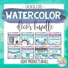 This classroom decor bundle is everything you need to get your classroom looking great! Save big by purchasing the bundle! Click on links below to see details about each product included.This product includes:--Calm & Cool Watercolor Name Tags--Calm & Cool Watercolor Binder Covers & Spines--Calm & Cool Watercolor Classroom Banner--Calm & Cool Watercolor Calendar Set--Calm & Cool Word Wall Headers--Calm & Cool Clock Labels--Calm & Cool Birthday ChartLooking for ...