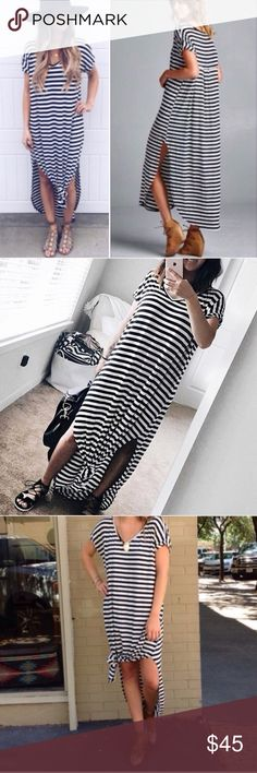 🌸RESTOCK🌸 Navy Striped Pocket Slit Maxi Dress Brand new oversized side slit maxi. RUNS BIG SIZE DOWN!! Small fits 4-8, medium 10-14, large 16-20. Gave the option for XL AND XXL as well, as it WILL fit, but L will be sent as it comes in S M L. This listing is for the striped navy. Other colors available in my other listings. molly dolly Dresses Maxi