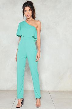 Nasty Gal nastygal One Hit Wonder Ruffle Jumpsuit Pant Romper Outfit, Ruffle Jumpsuit, Backless Jumpsuit, Summer Pants Outfits, Casual Outfits, Fashion Outfits, Turquoise Clothes, Tailored Jumpsuit, One Shoulder Jumpsuit