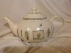 TEA POT PFALZGRAFF POTTERY NATUREWOOD PATTERN BEIGE  LARGE POT #PFALZGRAFF. Got my sis started on these, and they look perfect at her bee farm!