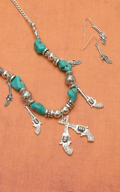 Blazin Roxx Silver Pistols with Turquoise & Silver Beads Jewelry Set 30232
