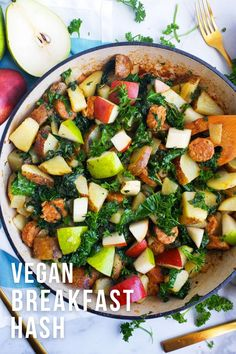 Vegan breakfast hashbrown recipe with plant based sausage, kale, pears, and potatoes. This homemade hash is easy to make and great for a vegetarian breakfast. Skillet potatoes that are delicious and healthy! The veggie hash is made with diced potatoes and the vegan sausage of your choice. Best recipe for adding more vegetables to your diet! Try this vegetarian and vegan friendly breakfast idea this weekend. For more healthy breakfast ideas visit USAPears.org and follow us on Pinterest! Pear Recipes Breakfast, Vegetarian Breakfast, Vegetarian Recipes, Healthy Recipes, Breakfast Ideas, Breakfast Hash, Breakfast Potatoes, Breakfast Skillet, Pear Varieties