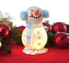 Snowman Light Globe - made with glass fishbowl, styro ball, w/ battery powered tea light inside