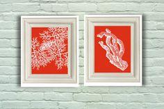 Digital Download Set 07, Orange and White Coastal Coral Prints