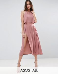 ASOS TALL Crop Top Wrap Split Midi Dress €73.33 Free Shipping Worldwide COLOUR: Dusky pink
