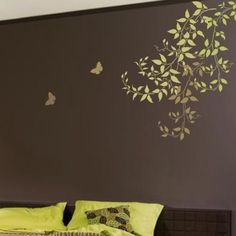 Try wall stencils instead of expensive wallpaper! Cutting Edge Stencils offers the best stencils for DIY decor - stencils expertly designed by professional decorative painters Janna Makaeva and Greg…More Large Wall Stencil, Stencil Painting On Walls, Wall Stenciling, Tree Stencil, Damask Stencil, Diy Wand, Diy Décoration, Easy Diy, Diy Wall Decor